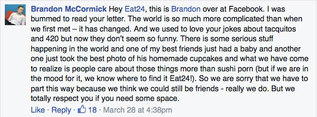 Facebook responds to Eat24